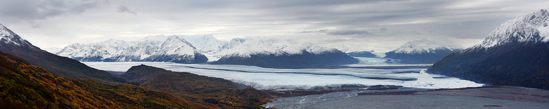 The Knik Glacier, and several others, slowly moving down from the higher peaks.