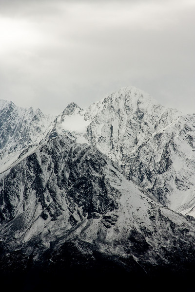 Peaks stand high over us, looking all the more intimidating with a light coating of snow.