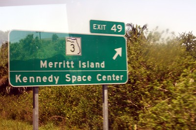 Exit sign for Merritt Island and the Kennedy Space Center