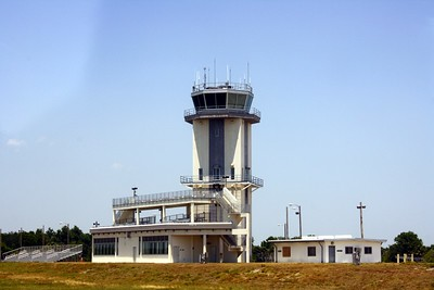 The control tower and spectator stands at the Shuttle Landing Facility