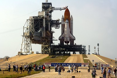 Space Shuttle Atlantis perches on a Mobile Launcher Platform on Launch Pad 39-A
