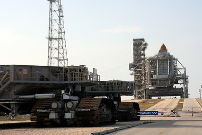 Space Shuttle Endeavour on Launch Pad 39-B, with the Crawler-Transporter in the foreground