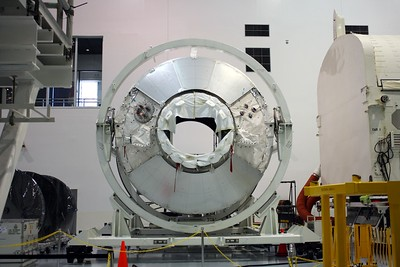 A future node of the International Space Station, on the floor of the Space Station Processing Facility