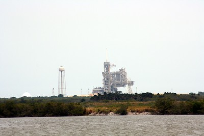 Launch Pad 39-A, T minus 14 seconds to liftoff.  The sound suppression system has begun flooding the launch pad with 300,000 gallons of water, to protect it from acoustic energy.