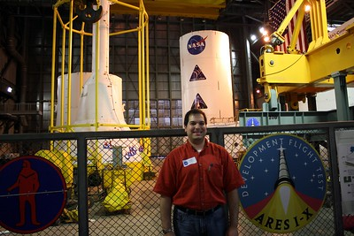 Craig, in front of the mockup of the test vehicle for Ares 1-X, which begins NASA's Constellation Program to succeed the Space Shuttle Program