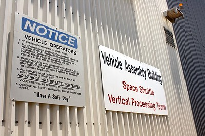 Signs on the Vehicle Assembly Building