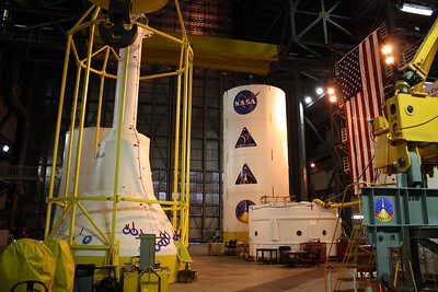 Mockup of the test vehicle for Ares 1-X, which begins NASA's Constellation Program to succeed the Space Shuttle Program