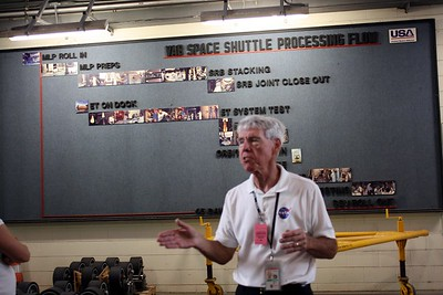 Our guide, Chuck Kleinschmidt, explains the process in the Vehicle Assembly Building