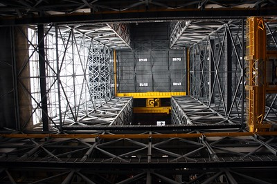 Looking up, inside the Vehicle Assembly Building