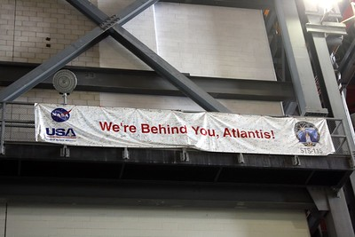 The personnel at the Vehicle Assembly Building sign a banner for each mission they support.  This banner is for STS-107 on Space Shuttle Atlantis.