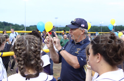 "Newburgh Free Academy softball coach puts a ""w"" for win during the pre game pep talk on Wednesday, May 27, 2009."