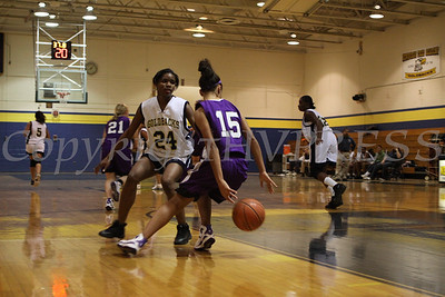 Monroe Woodbury's Alexis Billups (#15) dribbles the ball behind her back while being defended by Newburgh Free Academy's Kenisha Lawrence (#24) during the Friday, January 9, 2009 game at Newburgh Free Academy in Newburgh, NY. Monroe Woodbury defeated NFA, 50-37