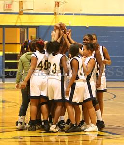 Newburgh Free Academy Girls Varsity Basketball team hudles prior to taking on Monroe Woodbury on Friday, January 9, 2009 at Newburgh Free Academy in Newburgh, NY. Monroe Woodbury defeated NFA, 50-37