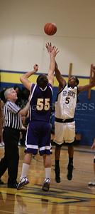 Newburgh Free Academy Boys Varsity Basketball hosted Warwick on Friday, January 20, 2009 at Newburgh Free Academy in Newburgh, NY. NFA defeated Warwick 91-50. NFA's Damon Cousar (#5) wins the tip off against Warwick's Gavin Hannah (#55).