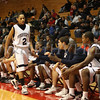 The Poughkeepsie High School Varsity Basketball team gives Dayron Whitaker (#2) a warm welcome to the bench during the game against Newburgh Free Academy on Saturday, January 10, 2009 at Marist College in Poughkeepsie, NY. Poughkeepsie defeated NFA 74-70.