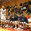 The Poughkeepsie High School Varsity Basketball team gives Brendon James a warm welcome to the bench during the game against Newburgh Free Academy on Saturday, January 10, 2009 at Marist College in Poughkeepsie, NY. Poughkeepsie defeated NFA 74-70.
