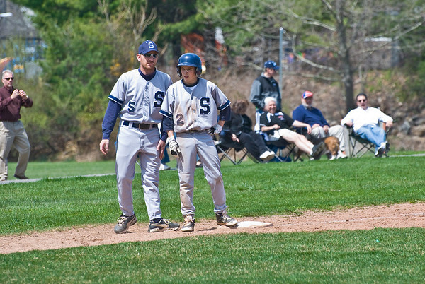 Mike Scott (2nd baseman, #2) and Coach Lenny Klein (#5) at 3rd base