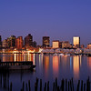 The Boston Skyline from East Boston just before sunrise.