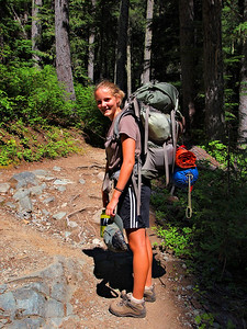 Emily - loaded up for the hike into Summerland