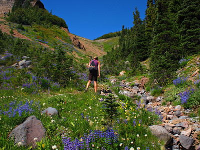Emily scrambling up the apprach to Goat Island Mountain.