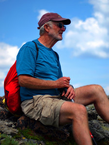 Dad taking a rare rest, at the summit.