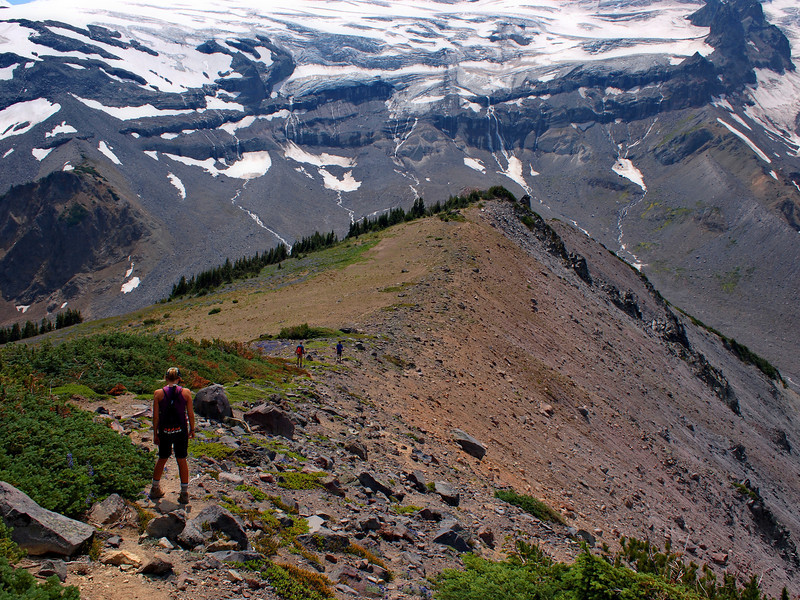 Hiking back down from the summit - the spine of the ridge is very apparent here. Glaciers in the distance - we will hike very close to the base of those (Dad will actually hike right up to them).