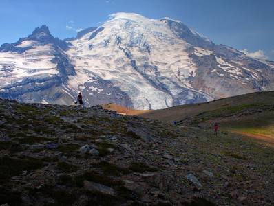 We start heading back down from the Summit, with Mt. Rainier looming before us.