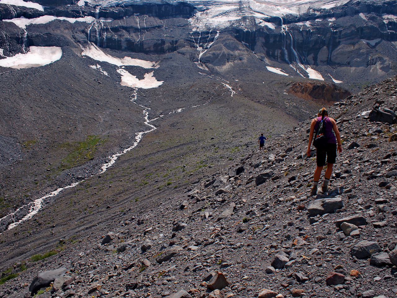 Heading out towards the moraine, and the source of the river at the base of the glacier (in the distance).
