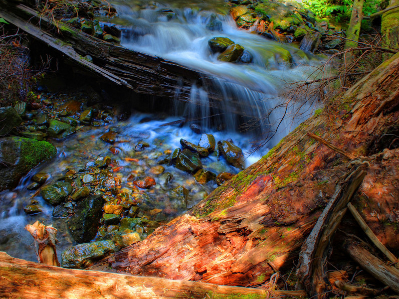 Little waterfall. This was handheld using in-camera IS (also HDR).