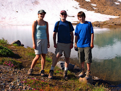 Emily, Dad and cousin Matt, near a glacial lake on the way to Panhandle Gap.