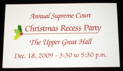 Ticket for the Annual Supreme Court Christmas Recess Party