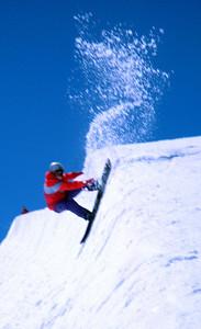 Summer skiing half-pipe