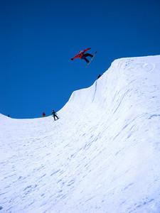 Summer skiing airborne