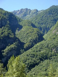 Valle Maggia. After reaching the valley we were soon hiking. This was the view from a 150 m suspension bridge.