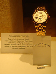 And this watch, around £50,000! Their most expensive was around £85,000. The brand is BlancPain, which I think must refer to the white pain you experience when you receive the bill. Duly entertained, we returned to our budget hostel.