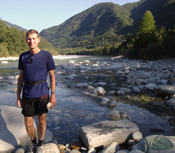 Andrew in the Maggia River. Again, it was very hot, just barely enough to swim in these chilly waters.