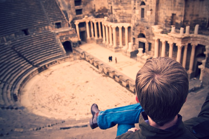 Greg surveys all he can see in the Roman amphitheatre at Bosra.