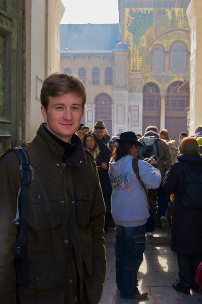 Greg on the way in to the Umayyad Mosque in Damascus.