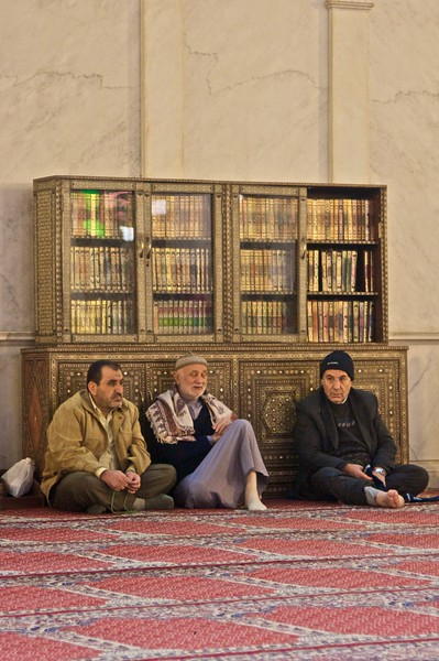 Men in the Umayyad Mosque.