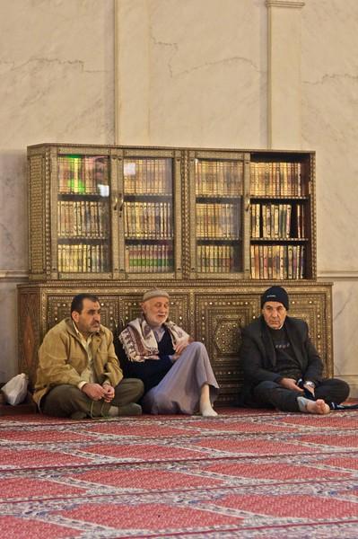 Men in the Umayyad Mosque.