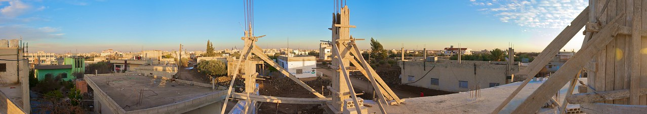 Panoramic view from the roof of Helen's and Ibrahim's new commercial building (still being built) over the roofs of Epta'a.