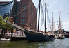 """""""Roseway"""", an original Grand Banks Schooner from 1925, with the French training schooners """"Belle Poule"""" and """"Etoile"""" behind"""