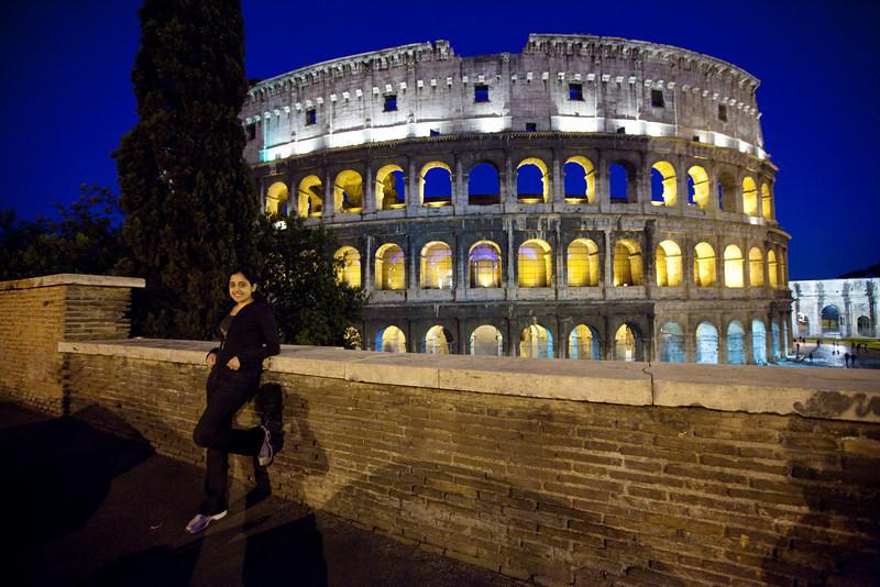 rome colosseum at night sham
