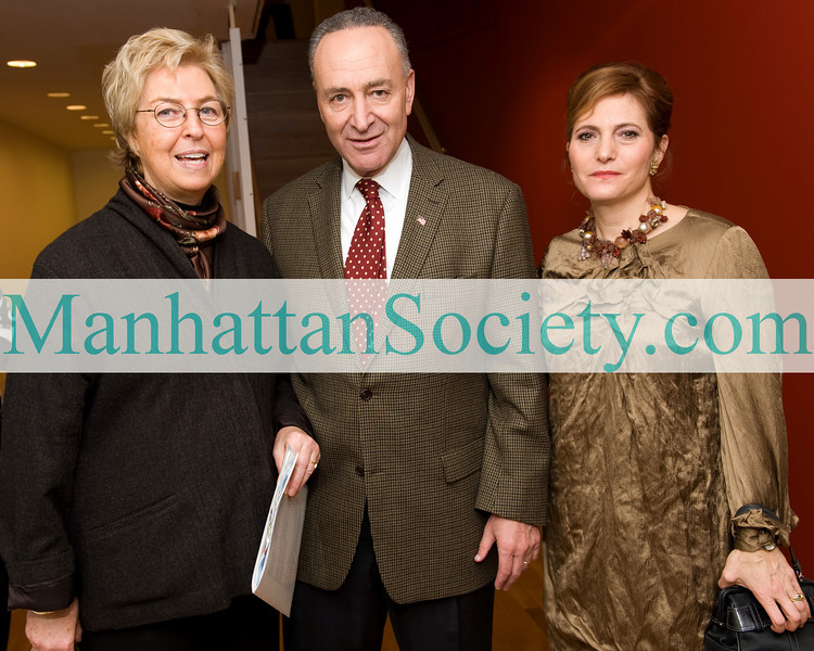 NEW YORK-NOVEMBER 22:Anna Eleanor Roosevelt, U.S. Senator Chuck Schumer, Hunter College President, Jennifer Raab attend The Hunter College Foundation's 2009 Bridge to Achievement Awards Gala on Sunday, November 22, 2009 at The Roosevelt House, 47-49 East 65th Street, Manhattan, New York City (PHOTO CREDIT:Copyright ©Manhattan Society.com 2009 by Gregory Partanio)