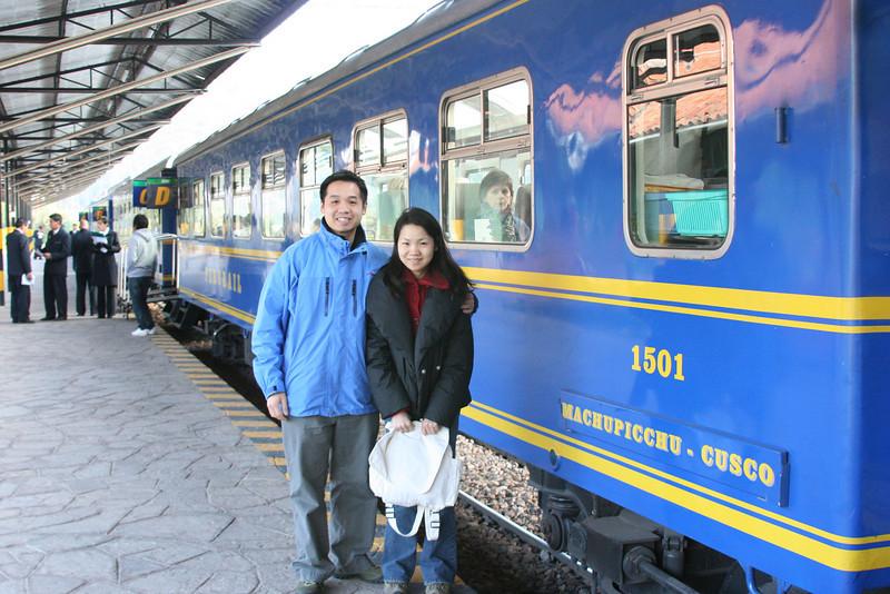 Getting on our train to Machu Picchu - still feeling sick