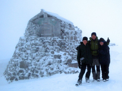 And here it is, the highest point in the whole of the UK, at 1,344 m. The snow was so deep the ruined stone buildings nearby were more than half buried. We dared not take our hands out of our gloves to check our thermometer, for the next hour. With the wind chill it was at least -15C. This is spring on Ben Nevis - it was May.
