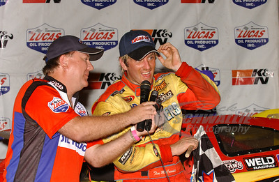 Tim McCreadie is interviewed by James Essex in Victory Lane @ Volunteer Speedway