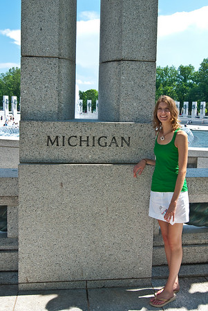 Kristen in front of the Michigan pillar at the WWII memorial