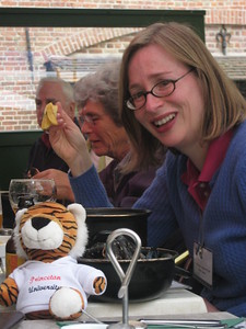 Professor Scallen with the Princeton tiger - Kaitlin Lutz