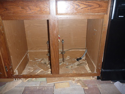 At the start, after I replaced the water valves, removed the sink, and broke up the bottom of the rotted cabinet.